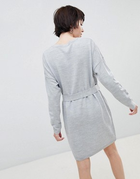 photo Jumper Dress with Belted Detail by ASOS DESIGN, color Grey Marl - Image 2