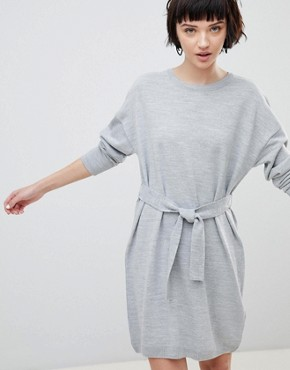 photo Jumper Dress with Belted Detail by ASOS DESIGN, color Grey Marl - Image 1