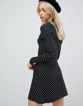 photo Tie Front Long Sleeved Dress by Nobody's Child, color Black - Image 2