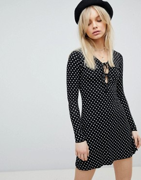 photo Tie Front Long Sleeved Dress by Nobody's Child, color Black - Image 1
