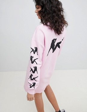 photo Pin up Print Sweat Dress by ASOS DESIGN, color Light Pink - Image 2