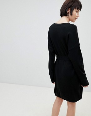 photo Jumper Dress with Belted Detail by ASOS DESIGN, color Black - Image 2