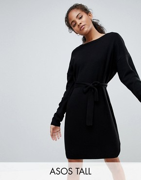 photo Jumper Dress with Belted Detail by ASOS DESIGN Tall, color Black - Image 1