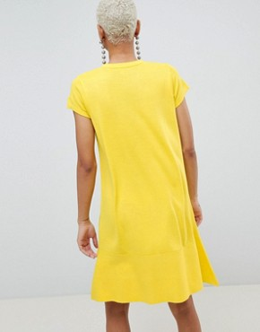 photo Knitted Dress with Frill Hem and Short Sleeve by ASOS DESIGN, color Yellow - Image 2