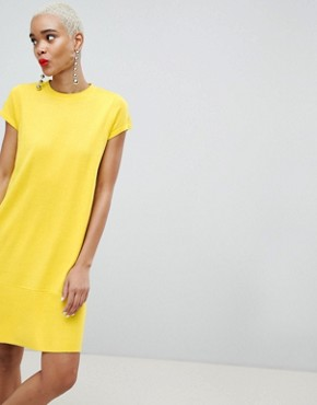 photo Knitted Dress with Frill Hem and Short Sleeve by ASOS DESIGN, color Yellow - Image 4