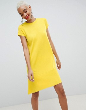 photo Knitted Dress with Frill Hem and Short Sleeve by ASOS DESIGN, color Yellow - Image 1