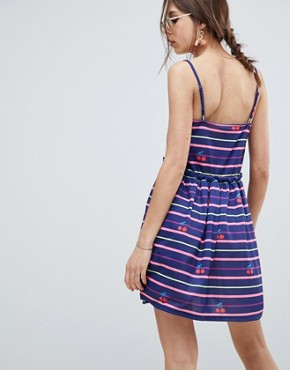 photo Stripe and Cherry Print Smock Sundress by ASOS DESIGN, color Multi - Image 2