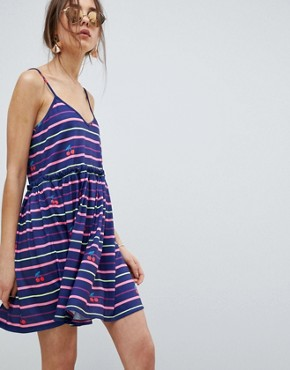 photo Stripe and Cherry Print Smock Sundress by ASOS DESIGN, color Multi - Image 1