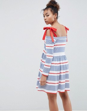 photo Stripe Cold Shoulder Smock Sundress by ASOS DESIGN, color Stripe - Image 2
