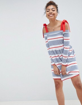 photo Stripe Cold Shoulder Smock Sundress by ASOS DESIGN, color Stripe - Image 1