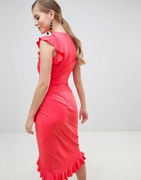 photo Wrap Midi Dress with Ruffle Detail by Little Mistress, color Coral - Image 2