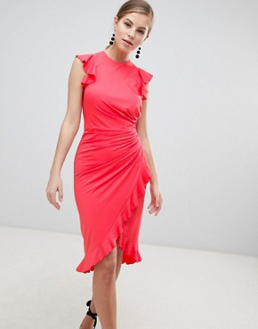 photo Wrap Midi Dress with Ruffle Detail by Little Mistress, color Coral - Image 1
