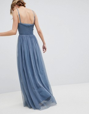 photo Bandeau Maxi Dress with Lace Detail by Little Mistress, color Duck Egg - Image 2