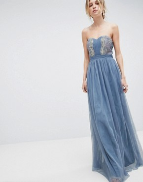 photo Bandeau Maxi Dress with Lace Detail by Little Mistress, color Duck Egg - Image 1