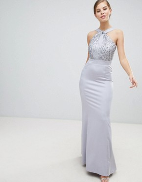 photo Halterneck Maxi Dress with Sequin Detail by Little Mistress, color Grey - Image 1