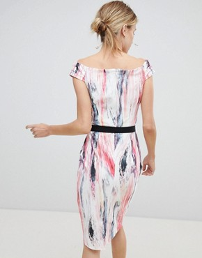 photo Off Shoulder Printed Pencil Dress by Little Mistress, color Multi - Image 2