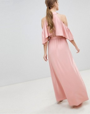 photo Belted Maxi Dress with Frill Overlay by Little Mistress, color Pink - Image 2