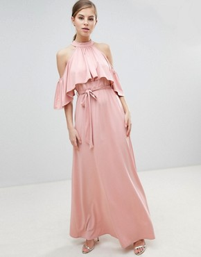 photo Belted Maxi Dress with Frill Overlay by Little Mistress, color Pink - Image 1