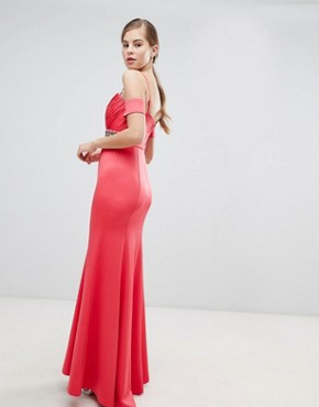photo Off Shoulder Maxi Dress with Embellished Waist by Little Mistress, color Coral - Image 2