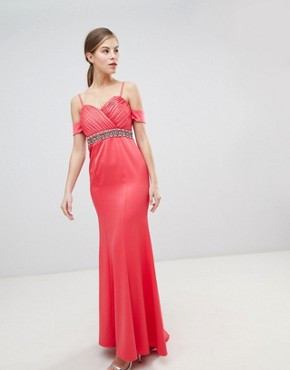 photo Off Shoulder Maxi Dress with Embellished Waist by Little Mistress, color Coral - Image 1