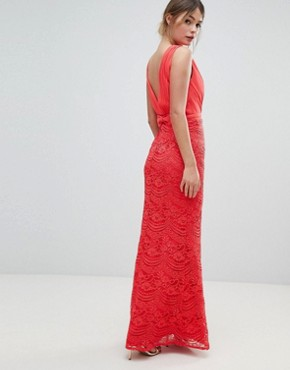 photo Lace Maxi Dress with Bow Back Detail by Little Mistress, color Coral - Image 2