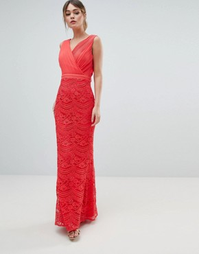 photo Lace Maxi Dress with Bow Back Detail by Little Mistress, color Coral - Image 1