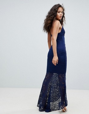 photo Deep Plunge Lace Bodycon Maxi Dress with Fishtail by ASOS DESIGN Tall, color Navy - Image 2