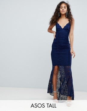 photo Deep Plunge Lace Bodycon Maxi Dress with Fishtail by ASOS DESIGN Tall, color Navy - Image 1