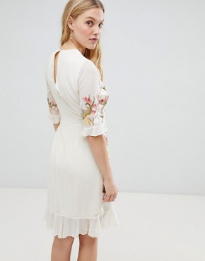 photo All Over Floral Embroidered Mini Dress by Hope & Ivy Premium, color Nude Base Print - Image 2