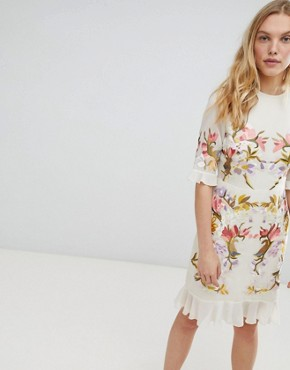 photo All Over Floral Embroidered Mini Dress by Hope & Ivy Premium, color Nude Base Print - Image 1