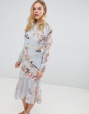 photo Long Sleeve Open Back Printed Midi Dress with Delicate Lace Trim by Hope & Ivy, color Grey Base Bird - Image 1