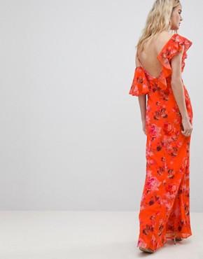 photo Asymmetric Ruffle Shoulder Detail Maxi Dress in Floral Print by Hope & Ivy, color Orange Print - Image 2