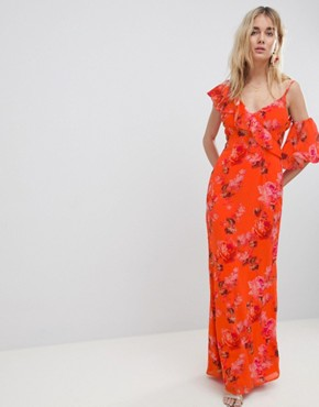 photo Asymmetric Ruffle Shoulder Detail Maxi Dress in Floral Print by Hope & Ivy, color Orange Print - Image 1