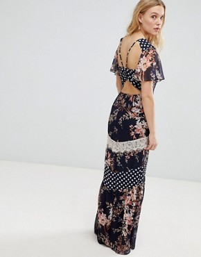 photo Mix and Match Printed Maxi Dress with Lace Trim Detail by Hope & Ivy, color Navy Base Print - Image 1
