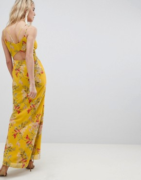 photo Cami Strap Button Front Maxi Dress with Cutout Back in Floral Print by Hope & Ivy, color Mustard Print - Image 2