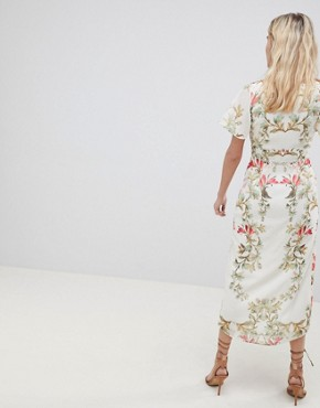 photo Button Front Flutter Sleeve Midi Dress in Mirrored Floral Print by Hope & Ivy, color White Print - Image 2