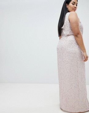 photo Drape Knot Front Scatter Embellished Sequin Maxi Dress by ASOS DESIGN Curve, color Nude - Image 2