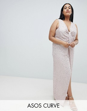 photo Drape Knot Front Scatter Embellished Sequin Maxi Dress by ASOS DESIGN Curve, color Nude - Image 1
