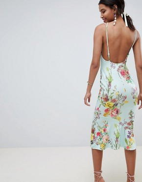 photo Double Strap Cami Floral Midi Bodycon Pephem Dress by ASOS DESIGN, color Multi - Image 2