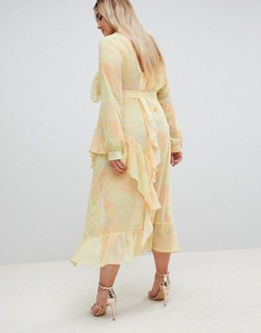 photo Printed Chiffon Maxi Dress by ASOS WHITE CURVE, color Yellow - Image 2
