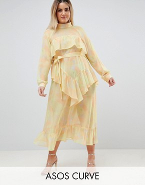 photo Printed Chiffon Maxi Dress by ASOS WHITE CURVE, color Yellow - Image 1