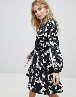 photo Blossom Print Skater Shirt Dress by Oasis, color Multi - Image 1
