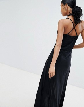 photo Lace Top Maxi Dress with Thigh High Splits in Black by Lasula, color Black - Image 2