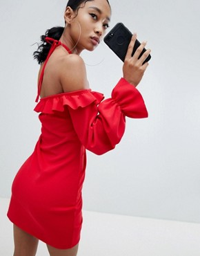 photo Ruched Front Off Shoulder Mini Dress in Red by Lasula, color Red - Image 2