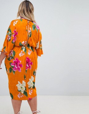 photo Kimono Midi Dress in Bold Floral Jacquard by ASOS DESIGN Curve, color Floral - Image 2