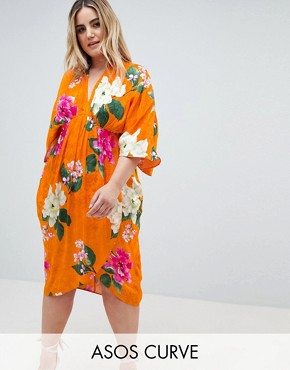 photo Kimono Midi Dress in Bold Floral Jacquard by ASOS DESIGN Curve, color Floral - Image 1