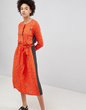 photo Midi Tea Dress in Mix and Match Vintage Prints by Moss Copenhagen, color Fiery Orange - Image 1