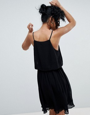 photo Pleated Slip Dress by Pieces, color Black - Image 2
