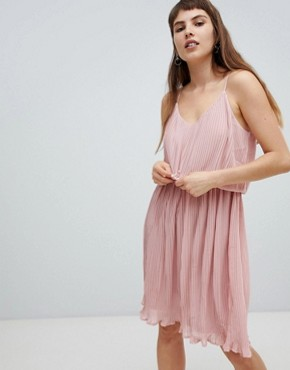 photo Pleated Slip Dress by Pieces, color Pink - Image 1