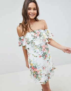 photo Off Shoulder Tiered Dress in Floral Print by Parisian, color White - Image 1